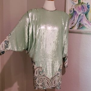 Vintage silk sequined dress wing sleeve 80s beaded